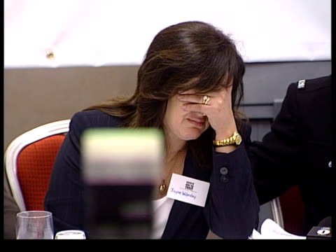 london int jayne walmsley breaking down at press conference and covering face with hand press pan families of victims at press conference to launch... - festival internazionale del cinema di toronto video stock e b–roll