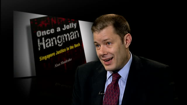 london int lance lattig interview sot alan shadrake book 'once a jolly hangman singapore justice in the dock' - international court of justice stock videos and b-roll footage