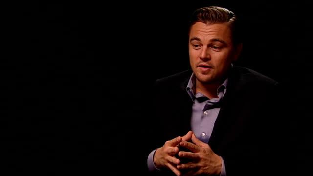 london int leonardo dicaprio interview sot - leonardo dicaprio stock videos & royalty-free footage