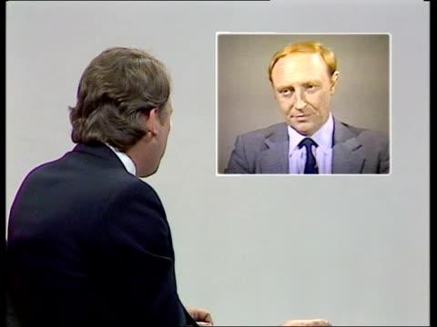 london: int neil kinnock mp 2-way interview from sheffield studio sot - ピーター・シソンズ点の映像素材/bロール