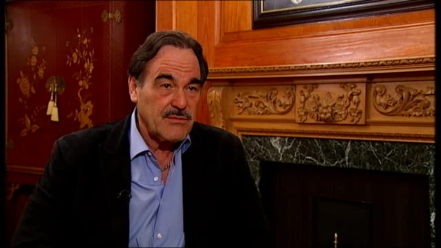 stockvideo's en b-roll-footage met london int oliver stone interview sot 2008 was greatest debacle of all time / greatest failure in history biggest bailout / biggest transfer of... - oliver stone
