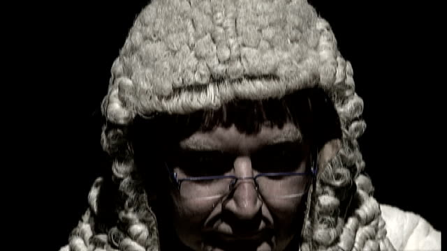 london close shot of 'victorian' judge tilt down as he bangs gavel sot - gavel stock videos & royalty-free footage