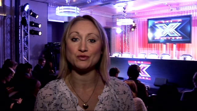 music heard over following shots sot *** reporter to camera x-factor finalists and judges seated at pre-final press conference simon cowell arriving... - spielkandidat stock-videos und b-roll-filmmaterial