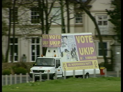 london int roger knapman holding election manifesto for photocall file / tx 15405 devon salcombe lms lorry poster for ukip with slogan 'vote ukip'... - party poster stock videos & royalty-free footage