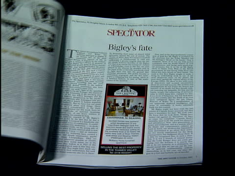 vídeos y material grabado en eventos de stock de copy of 'the spectator' magazine opened to article entitled 'bigley's fate' zoom in - revista publicación