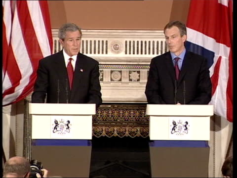 london us president george wbush and prime minister tony blair mp speaking at podium during recent meeting - guantanamo bay stock videos & royalty-free footage