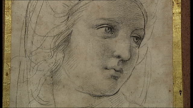 london int various views of people viewing paintings by the 'old masters' such as rembrandt raphael van dyck and reubens including close shots of... - raphaël haroche stock videos & royalty-free footage