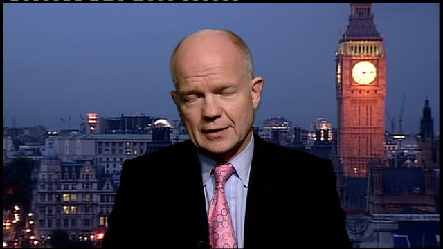 london int william hague mp 2way interview from westminster sot [whether former libyan leader colonel gaddafi was assassinated] i don't want to add... - weapons of mass destruction stock videos & royalty-free footage