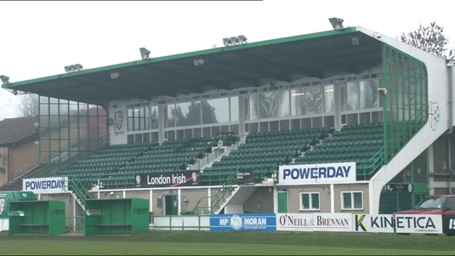 London Irish rugby club taken over Surrey Sunbury Various of training ground and former stadium of London Irish rugby club INT Media at press...