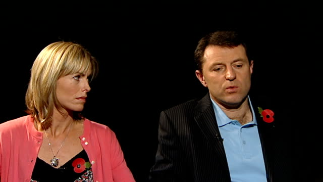kate mccann and gerry mccann interview sot very emotive and powerful message / if you were holding back information you would be wrestling with your... - kate mccann stock videos & royalty-free footage