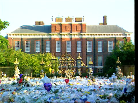 lib england london kensington gardens flowers laid outside kensington palace after death of diana princess of wales pull out - raw stock videos and b-roll footage