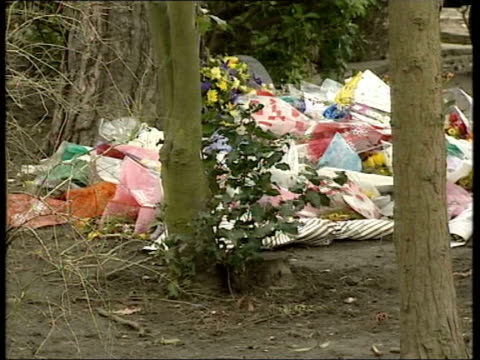 vídeos de stock, filmes e b-roll de london kingsbury roe green park ext gv wooded area where body of asian victim thought to be an 18 yearold sri lankan was found pan flowers laid at... - parque green