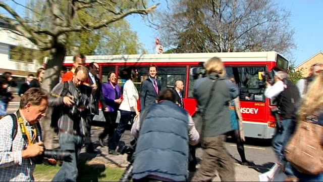 london kingston hospital ext nick clegg mp and his wife miriam gonzalez durantez along through press scrum as arriving at hospital digital camera... - digital camera stock videos and b-roll footage