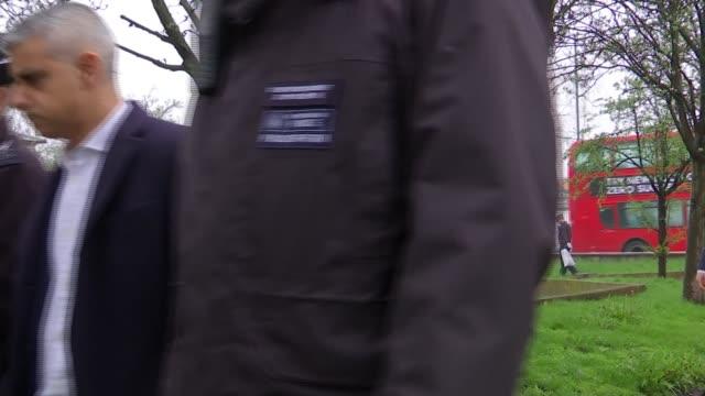 sadiq khan joins police officers on a weapons sweep england london thornton heath ext sadiq khan along with police officers police officer checking... - sadiq khan stock videos and b-roll footage