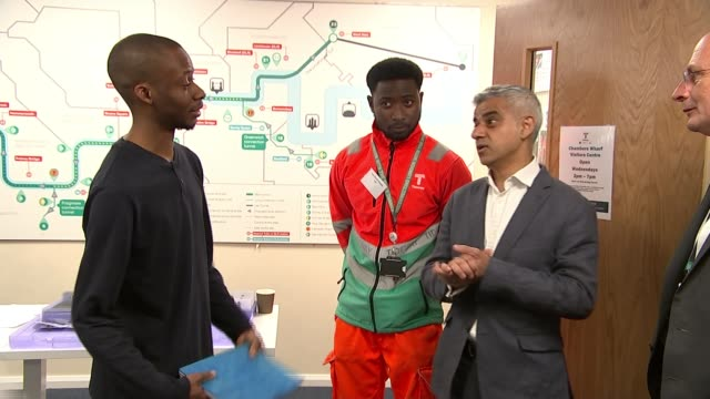 sadiq khan pledges £115 million to community projects to tackle knife crime england london bermondsey photography*** sadiq khan chatting to tideway... - sadiq khan stock videos and b-roll footage