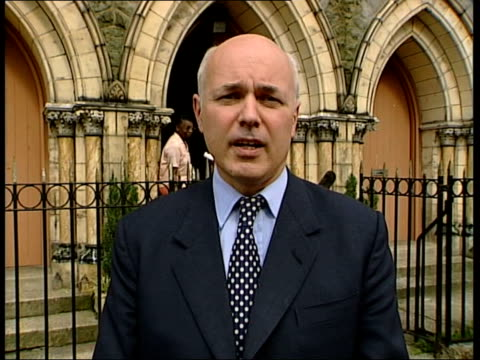 london lambeth brixton iain duncan smith mp interview sot talks of policy on cannabis being handed over to drug dealers on the street / talks of... - lambeth stock-videos und b-roll-filmmaterial