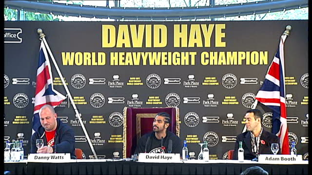 london lambeth road fitzroy lodge boxing club various of boxers training london haye speaking at press conference press david haye interview sot - david haye stock videos and b-roll footage