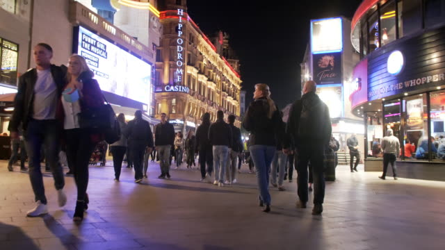 london leicester square at night - high street stock videos & royalty-free footage
