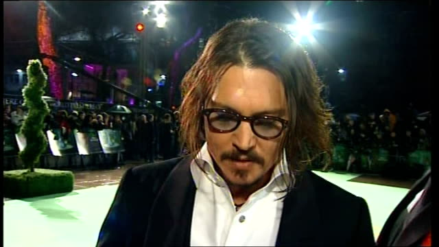london leicester square ext johnny depp interview sot - johnny depp stock videos & royalty-free footage