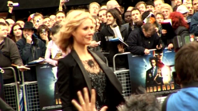 London Leicester Square Iron Man film premiere **BEWARE Gwyneth Paltrow on red carpet Robert Downey Junior speaking to press ENDS