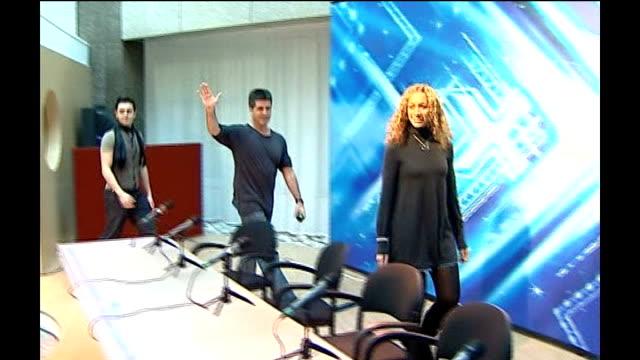 london leona lewis simon cowell and ray quinn arriving at press conference - jedward stock videos and b-roll footage