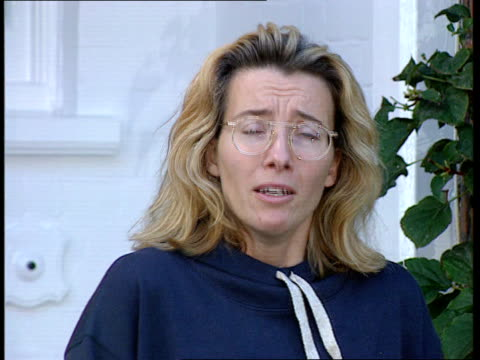 london lms emma thompson out of home stands on itn doorstep cms emma thompson speaking press sot buy one of the newspapers our statement they're... - emma thompson stock videos & royalty-free footage