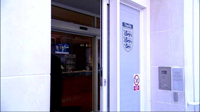 lord triesman towards as into building triesman posing for photocall next fa shield - football association stock videos & royalty-free footage