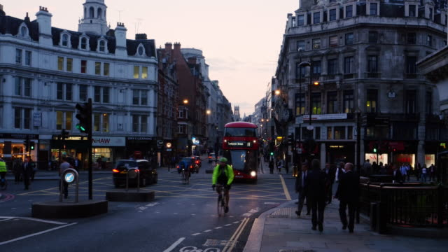 london ludgate circus and fleet street to the west - double decker bus stock videos & royalty-free footage