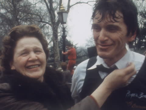 """london marathon 1981; england: london: ext joyce smith interview sof - """"i just got pulled – way beardsley and simonson with trophies dick beardsley... - tired stock videos & royalty-free footage"""