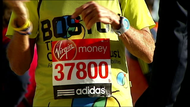 half a minute's silence to remember boston victims at start of race; female runner's headband with handwritten 'boston' runner wearing 'boston'... - headband stock videos & royalty-free footage