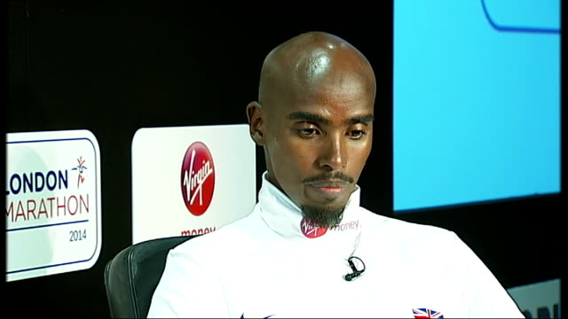 mo farah photocall and press conference; farah press conference sot - on injuries sustained in new york marathon mo farah interview sot - on what... - sports period stock videos & royalty-free footage
