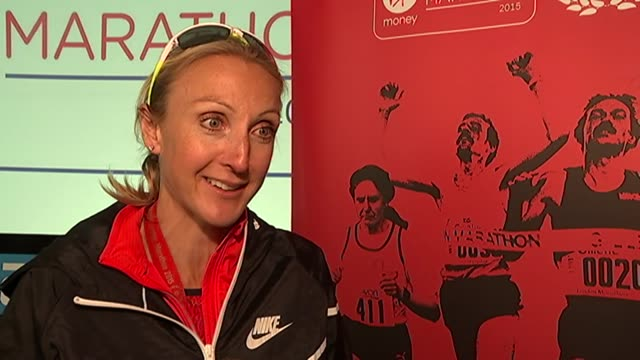 paula radcliffe interview after race; england: london: the mall: int paula radcliffe interview sot - on it being emotional / crowds cheering her on /... - tendon stock videos & royalty-free footage