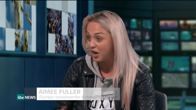 olympic snowboarder aimee fuller to take part england london gir int aimee fuller live studio interview sot - london marathon stock videos & royalty-free footage