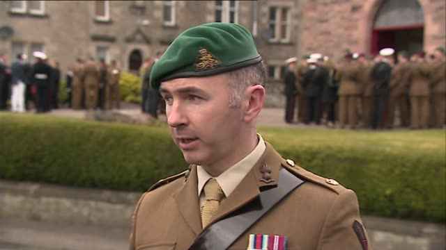 funeral of captain david seath scotland dunfermline ext major jim mccaffery reading statement to press sot/ black/ captain david seath coffin carried... - dunfermline stock videos & royalty-free footage