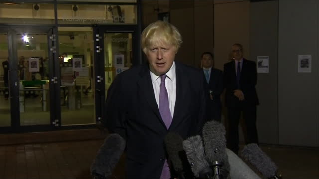 london mayor, boris johnson, addressing press after being chosen to represent the conservative party in uxbridge and south ruislip in 2015 - darstellen stock-videos und b-roll-filmmaterial