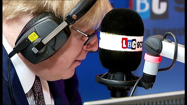 london mayor boris johnson attacks bob crow over planned tube strike; lbc radio: johnson speaking during monthly phone-in show on lbc radio nick... - television show stock videos & royalty-free footage