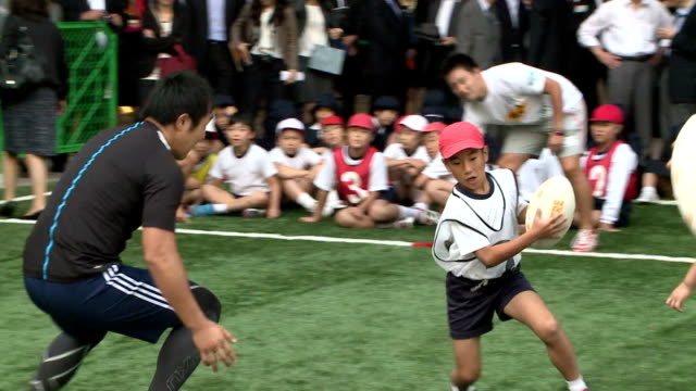 london mayor boris johnson enjoyed street rugby on oct 15 in tokyo which is to host the 2020 olympic games he visited the capital to conclude a... - boris johnson stock videos and b-roll footage