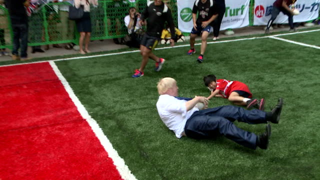 london mayor boris johnson enjoyed street rugby on oct 15 in tokyo which is to host the 2020 olympic games he visited the capital to conclude a... - boris johnson stock videos & royalty-free footage