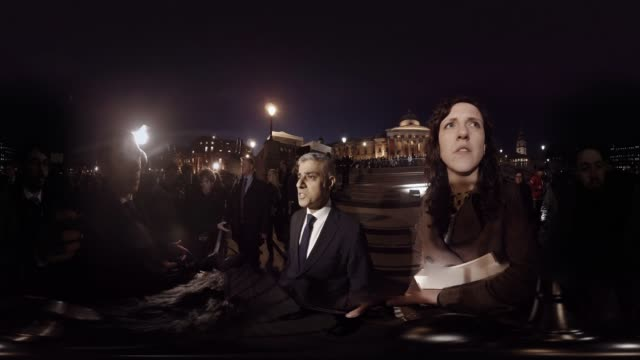 'London Mayor Sadiq Khan gives an interview at candlelit vigil held for the victims of the Westminster Terror Attack in Trafalgar Square London UK on...