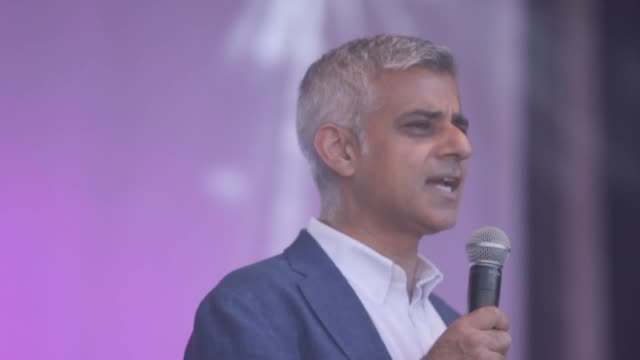 London Mayor Sadiq Khan is joined by MasterChef 2017 winner Saliha MahmoodAhmed and Yusuf Islam on stage at the Eid celebrations in Trafagar Square...