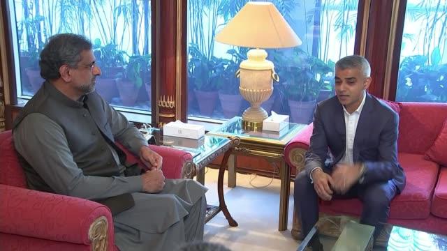 london mayor sadiq khan meets pakistan's prime minister pakistan islamabad throughout*** various shots sadiq khan seated for meeting with shahid... - sadiq khan stock videos and b-roll footage