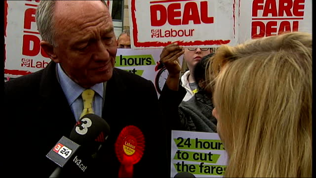 london mayoral election 2012: final campaigning underway; england: london: ext ken livingstone , surrounded by supporters holding posters, stands on... - trivia stock videos & royalty-free footage