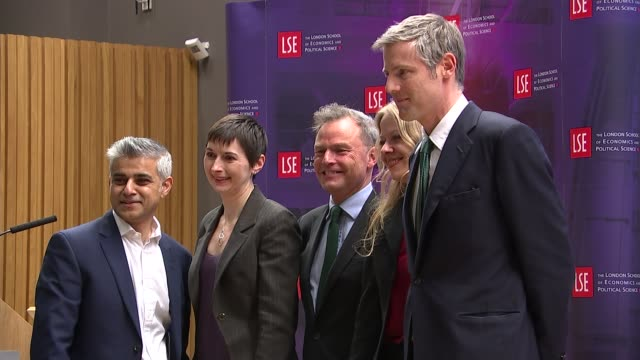 london mayoral election 2016: campaign descends into name-calling; r28011619 / 28.1.2016 england: londn: lse new academic building: int sadiq khan mp... - fototermin stock-videos und b-roll-filmmaterial