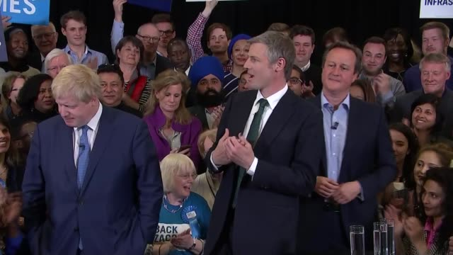 david cameron and boris johnson join zac goldsmith at campaign event zac goldsmith mp speech sot / johnson goldsmith and cameron posing for photocall... - bürgermeister stock-videos und b-roll-filmmaterial