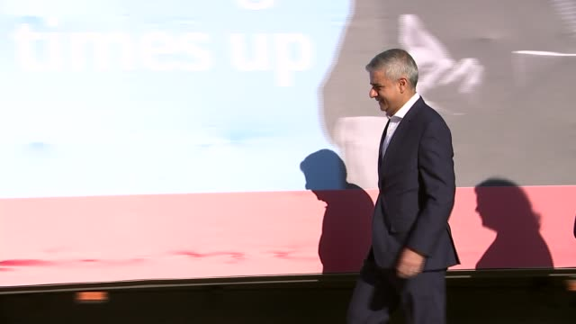 eu referendum views london ext sadiq khan mp and heidi alexander mp along at campaign event post poster on van sadiq khan mp interview sot any... - 2016 european union referendum stock videos and b-roll footage