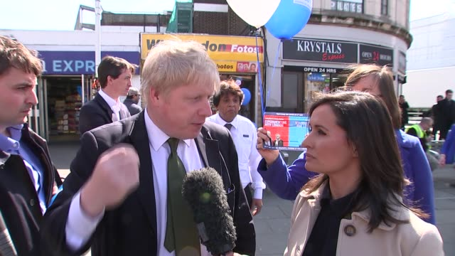 Zac Goldsmith mayoral manifesto launch / interview Boris Johnson MP interview as along SOT / GVs Johnson and Goldsmith / Goldsmith chatting to Nina...