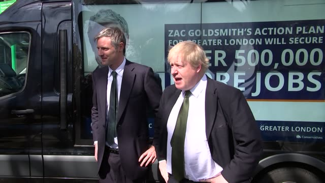 Zac Goldsmith mayoral manifesto launch / interview Goldsmith and Johnson posing for photocall
