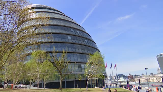 london mayoral election: candidate interviews and city hall general views; england: london: ext general views of city hall building / windows / flags... - town hall stock videos & royalty-free footage
