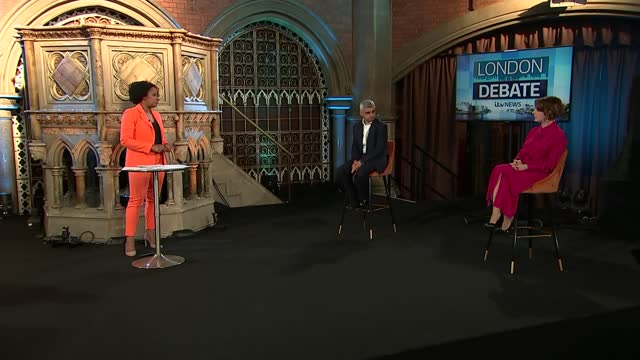 london mayoral election: itv news london studio debate; england: london: islington: union chapel: int charlene white live studio intro sadiq khan ,... - plain stock videos & royalty-free footage
