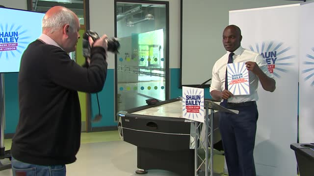 london mayoral election: shaun bailey manifesto launch / sadiq khan billboard photocall and interview; england: london: edgware: int close shot of... - politics stock-videos und b-roll-filmmaterial